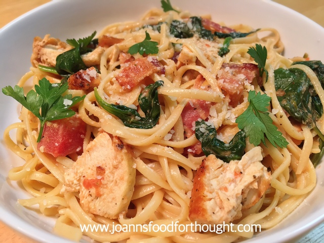 Bacon and Chicken Linguine Plated